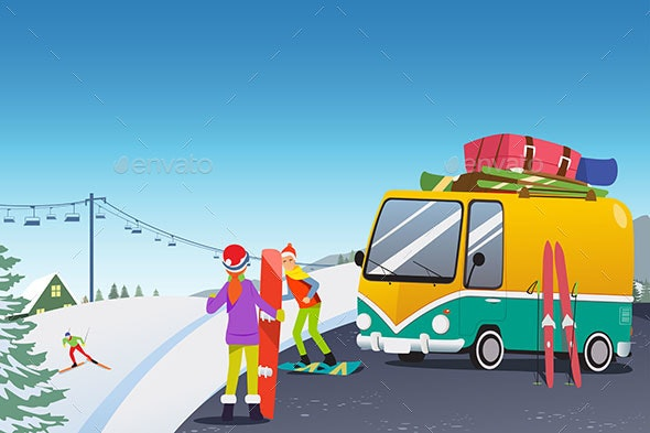 Couple Snowboarding at a Winter Resort - People Characters