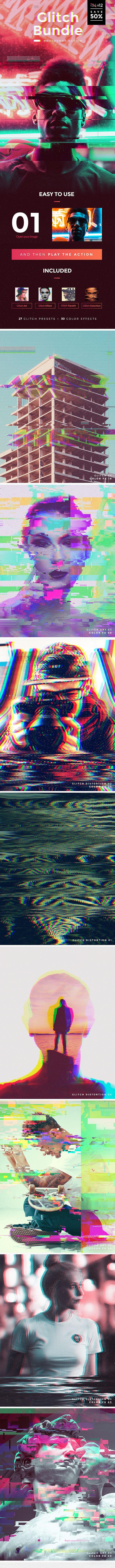 Glitch Bundle Photoshop Actions - Photo Effects Actions