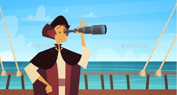 Man on Ship With Spyglass Happy Columbus Day - People Characters