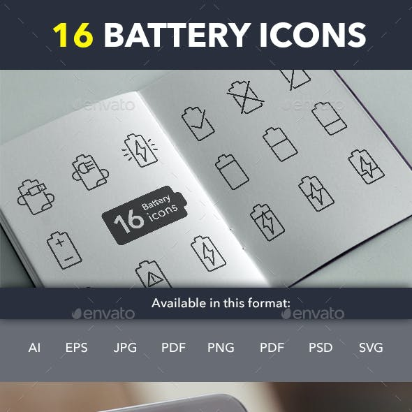 Battery Simple Outline - 16 icons