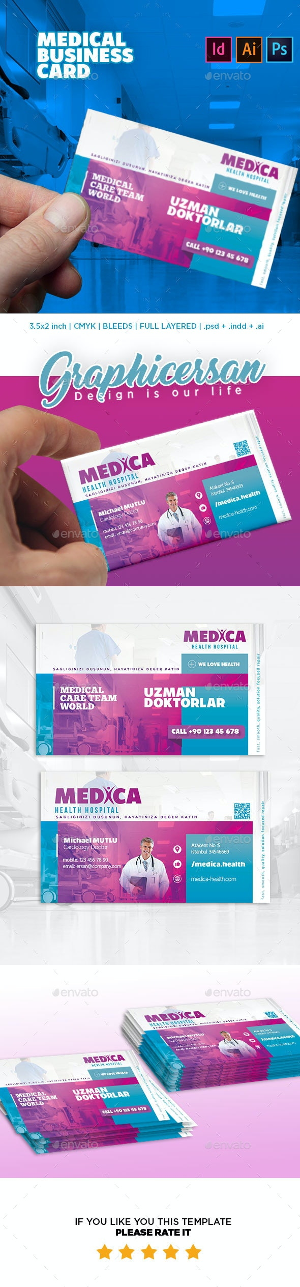 Medical Business Card Template - Corporate Business Cards