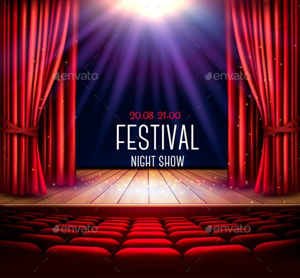 Festival Night Show Poster. Vector. - Backgrounds Business