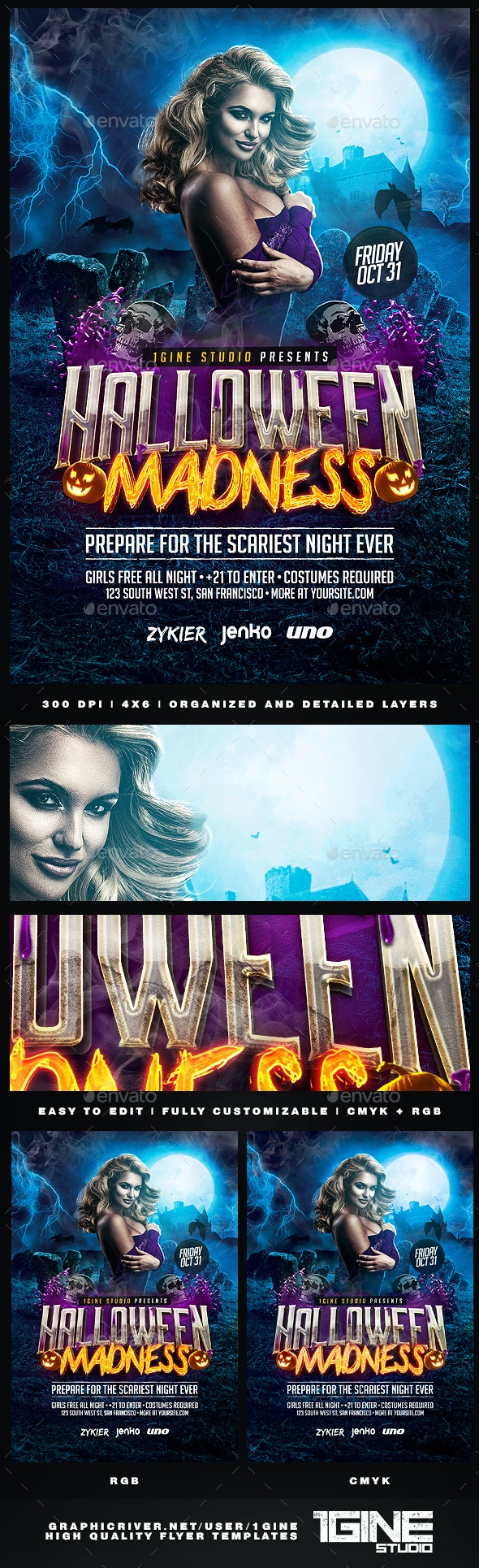 Halloween Madness Party Flyer Template - Clubs & Parties Events