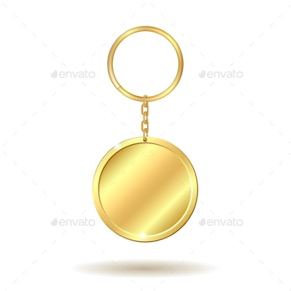 Golden Keychain Circle Shape