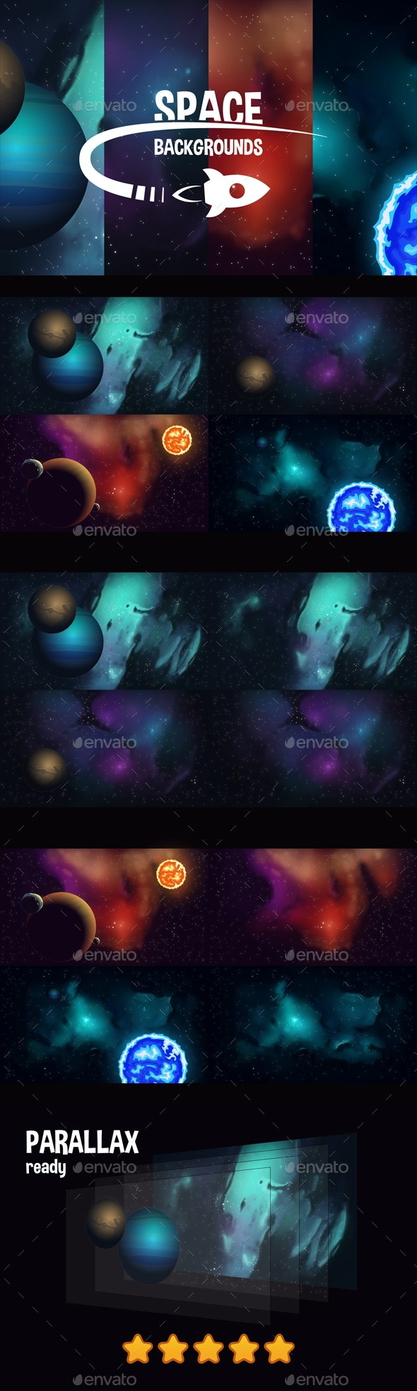 Space Game Backgrounds - Backgrounds Game Assets