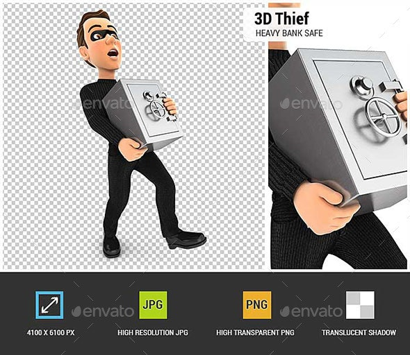 3D Thief Holding Heavy Bank Safe - Characters 3D Renders