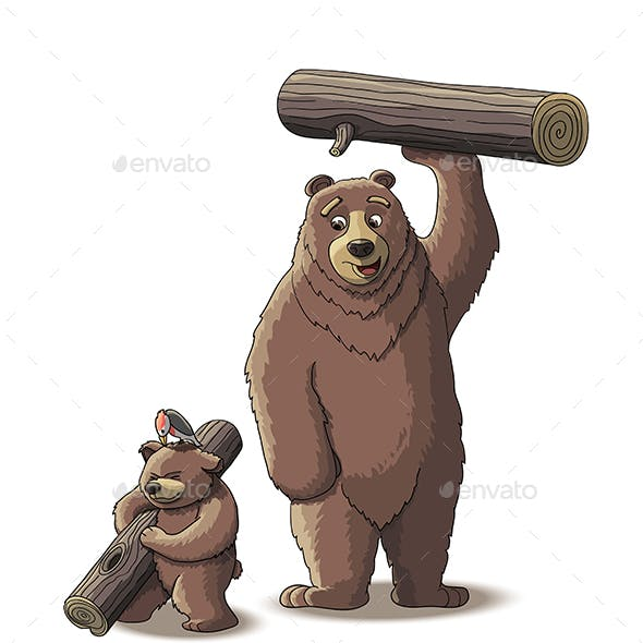 Brown Bear and Cub Bear Carry Wood