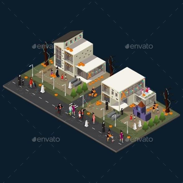 Isometric Halloween Holiday Celebration Concept - Halloween Seasons/Holidays
