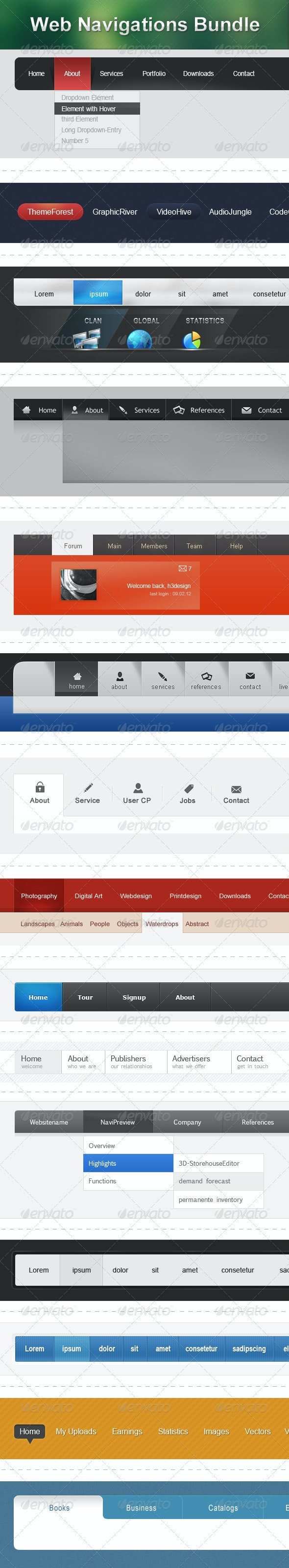 Web Navigations Bundle - Navigation Bars Web Elements