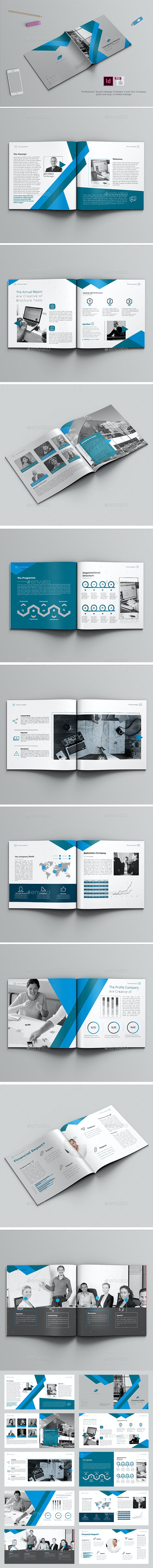 Square Blue Brochure Company - Brochures Print Templates