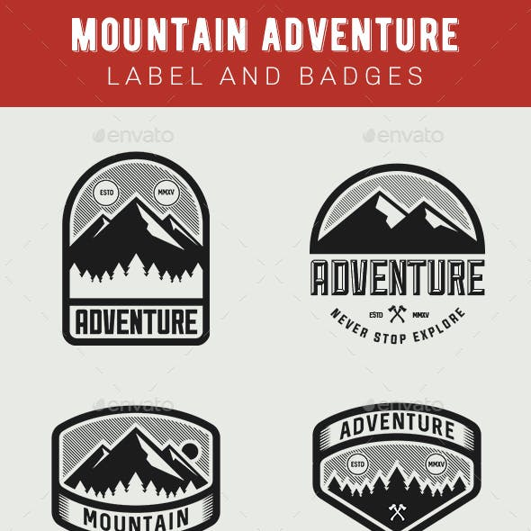 Mountain Adventure Label and Badges