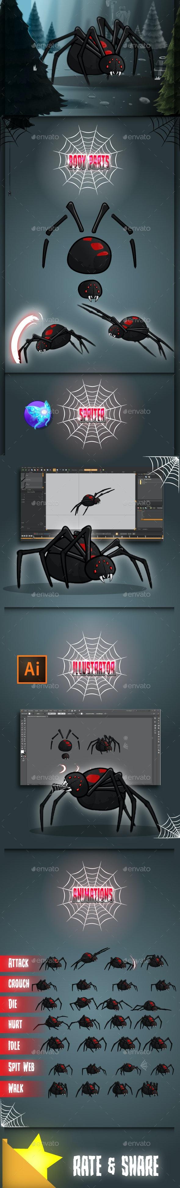 Giant Black Widow Spider Game Sprites - Sprites Game Assets