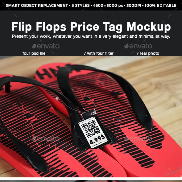 Flip Flops Price Tag Mockup