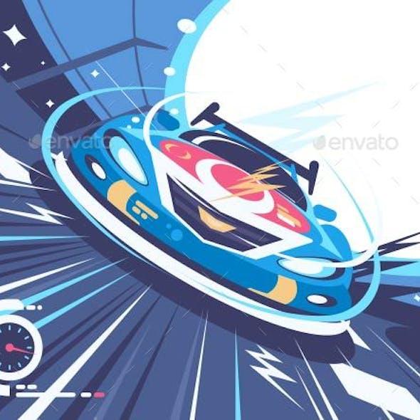 Power Racing Car on Speed Track