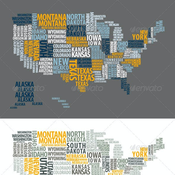 US Map Made of Words