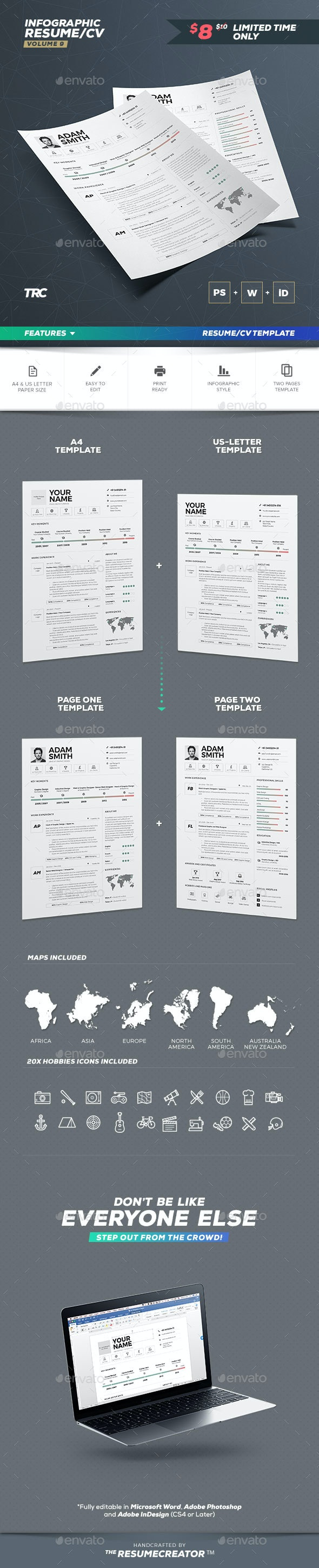 Infographic Resume/Cv Template Volume 9 - Resumes Stationery