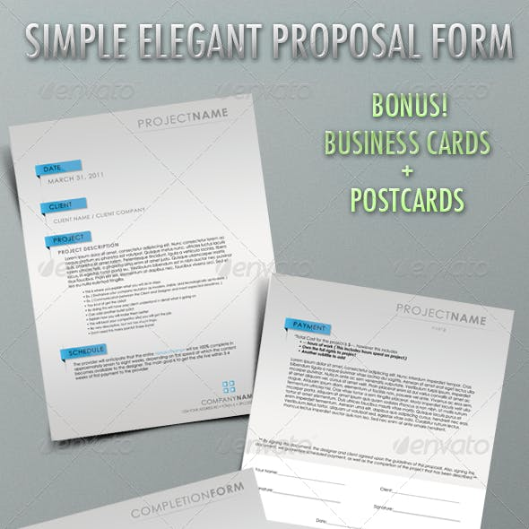 Simple Elegant Proposal Form with Business Cards!!