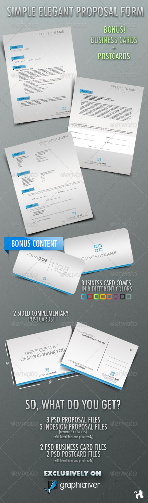 Simple Elegant Proposal Form with Business Cards!! - Proposals & Invoices Stationery