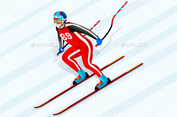 Alpine Skiing Downhill - Sports/Activity Conceptual