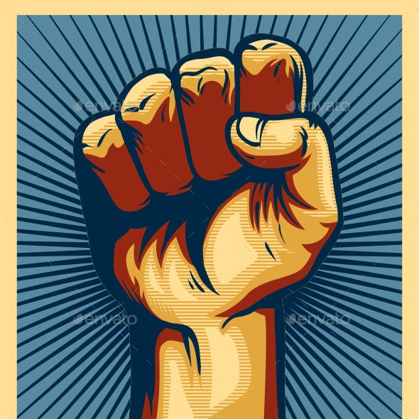 Revolution Clenched Fist Power Hand Propaganda Poster