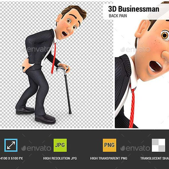 3D Businessman Suffering from Back Pain