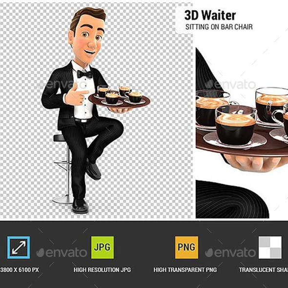 3D Waiter Sitting on Bar Chair with Cups of Coffee