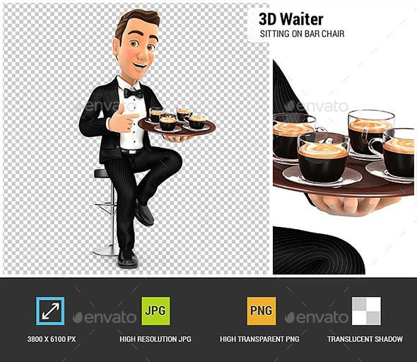 3D Waiter Sitting on Bar Chair with Cups of Coffee - Characters 3D Renders