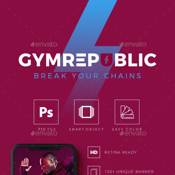 Gymrepublic - Fitness GYM Instagram Banner Templates