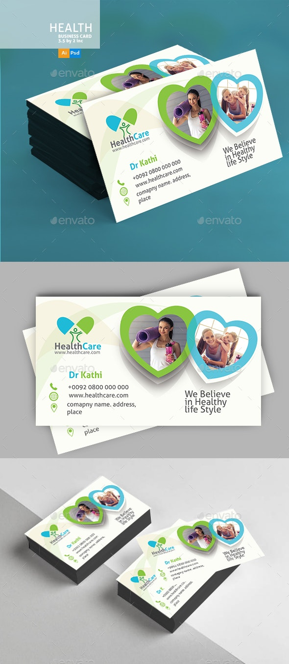 Healthy Life Business Card - Business Cards Print Templates