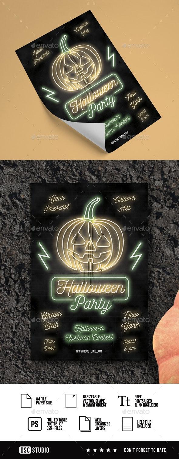 Neon Halloween Flyer - Clubs & Parties Events
