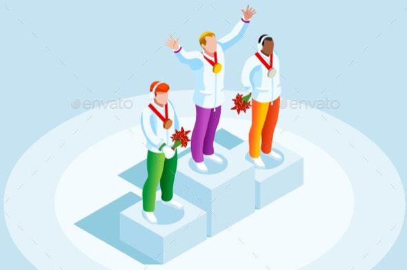 Male Podium Winter Sports Winner - Sports/Activity Conceptual