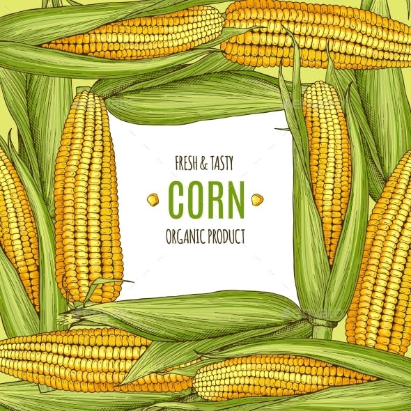 Colored Background Illustration with Corn