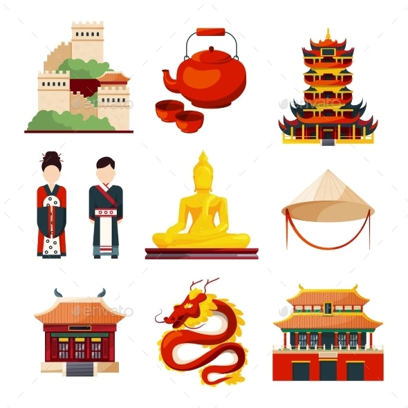 Traditional Chinese Cultural Objects in Vector - Man-made Objects Objects