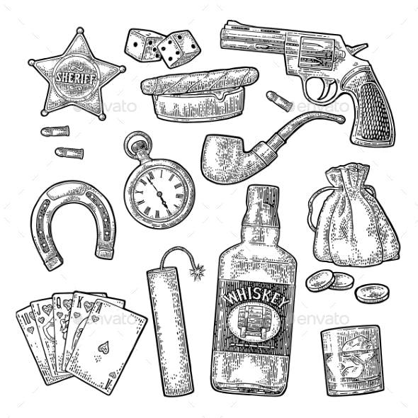 Set with Wild West and Casino Symbols