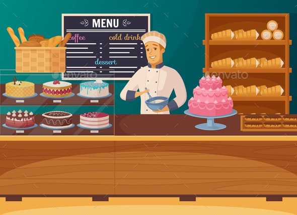 Sweet Shop Cartoon Composition - Food Objects