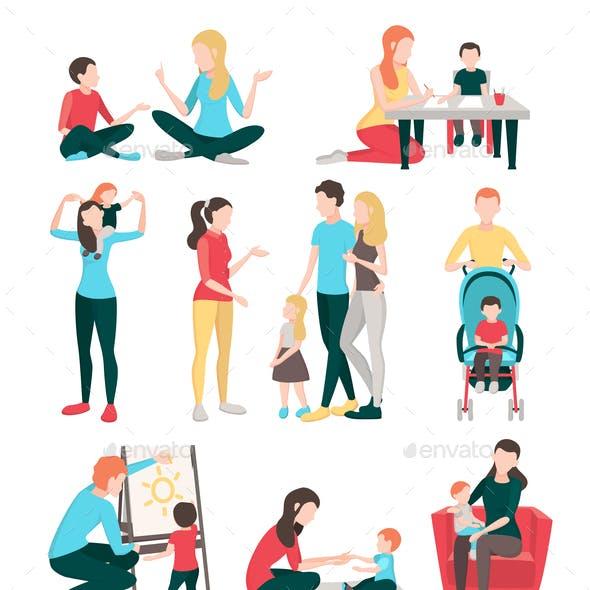 Babysitter Family People Set
