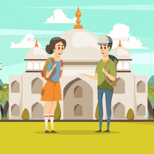 Travel In India Flat Background