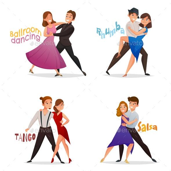 Dancing Pairs Retro Cartoon Set - People Characters