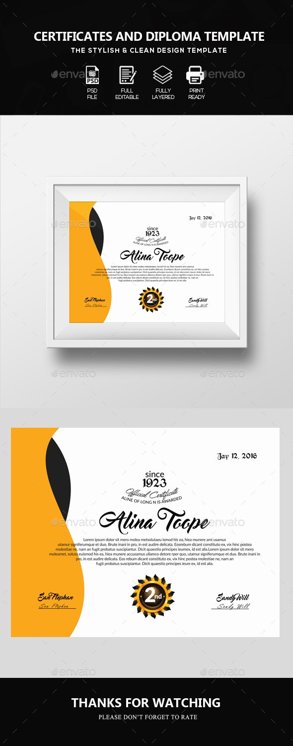 Diploma & Certificate Template - Certificates Stationery