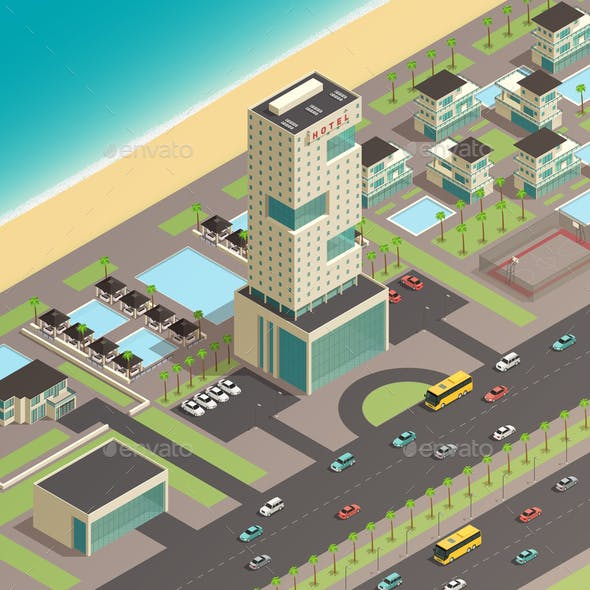 Isometric City Constructor With Luxury Hotel