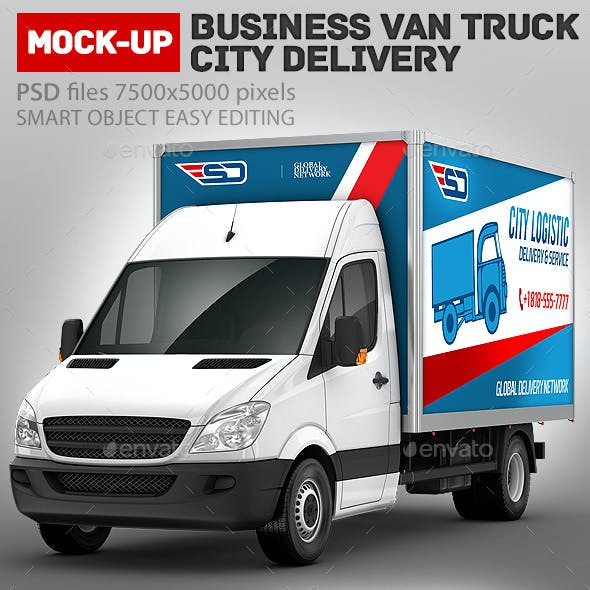 Business Van Truck city delivery Mock-Up