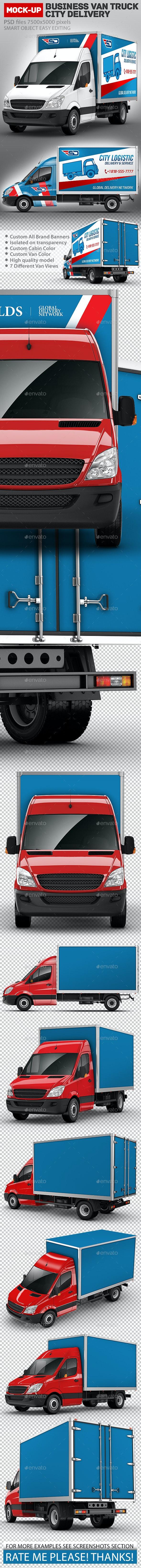 Business Van Truck city delivery Mock-Up - Vehicle Wraps Print