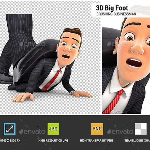 3D Big Foot Crushing Businessman
