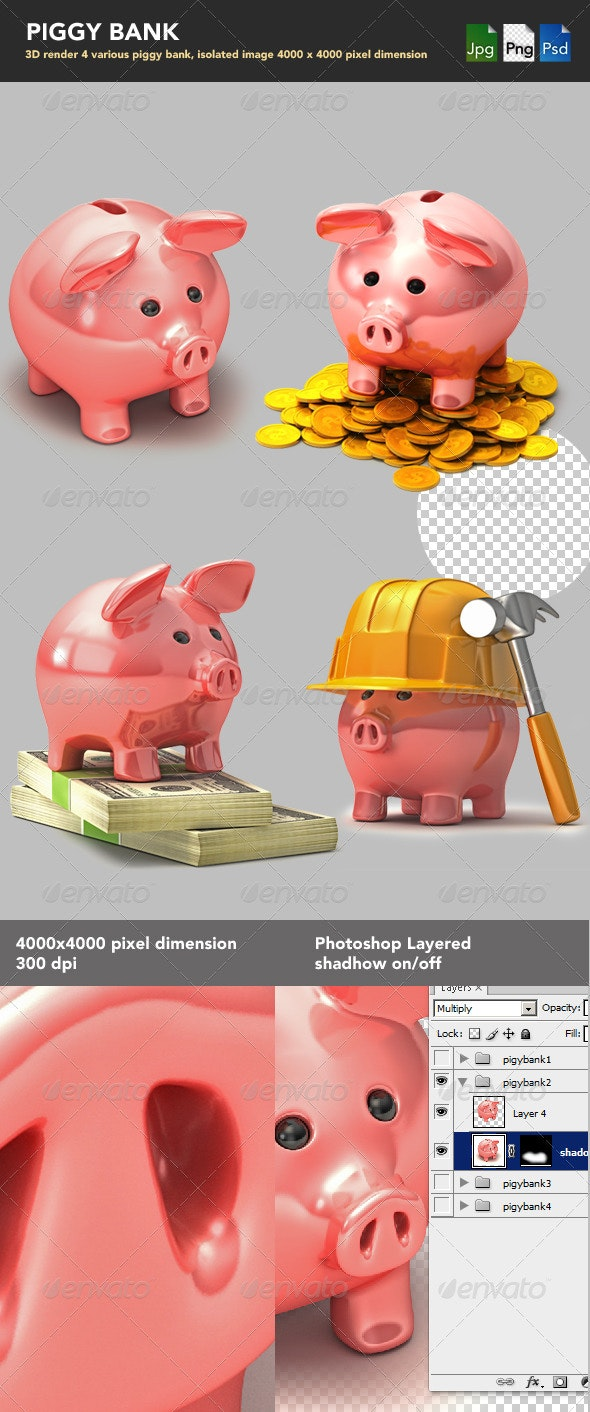 Piggy Bank - Characters 3D Renders
