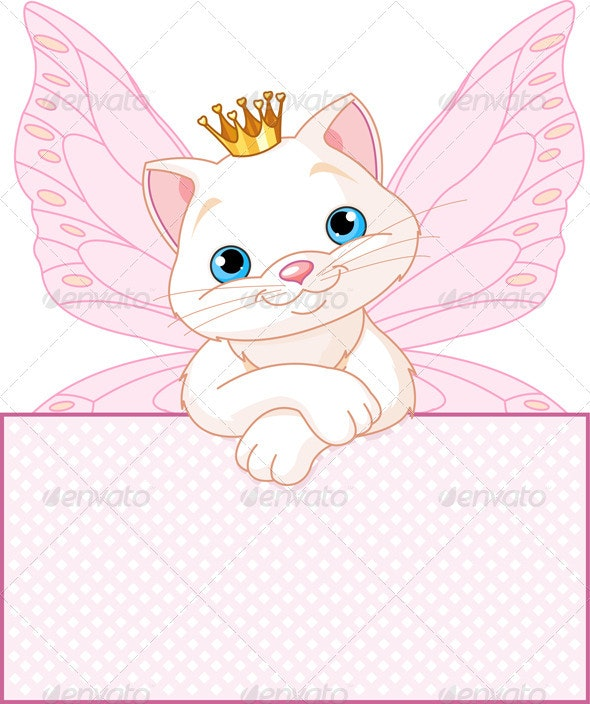 Princess Cat over a blank sign - Animals Characters