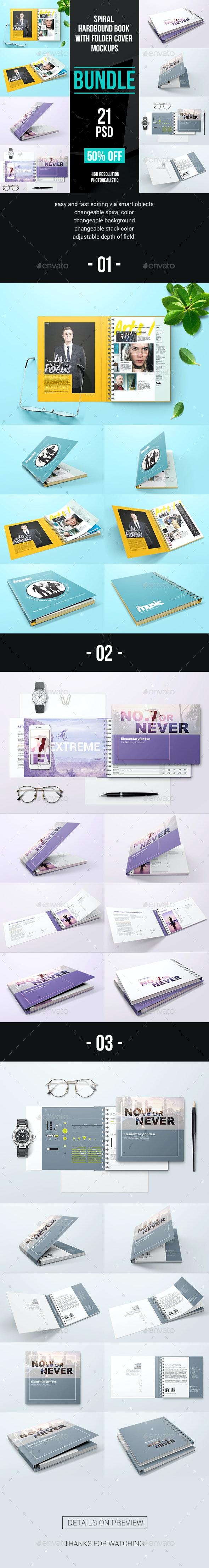 Spiral Hardbound Book With Folder Cover Bundle Mockups - Product Mock-Ups Graphics