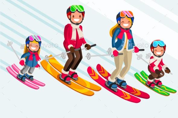 Snow Skiing People Family Vector Set - Vectors