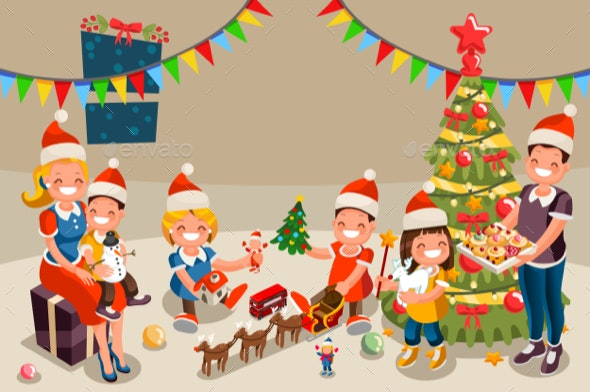 Winter Christmas Party with Kids People - Vectors