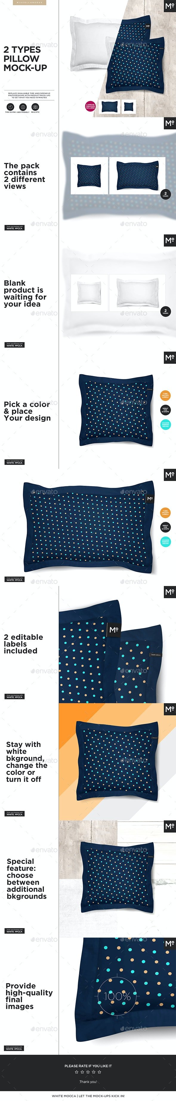 2 Types Pillow Mock-up - Miscellaneous Print