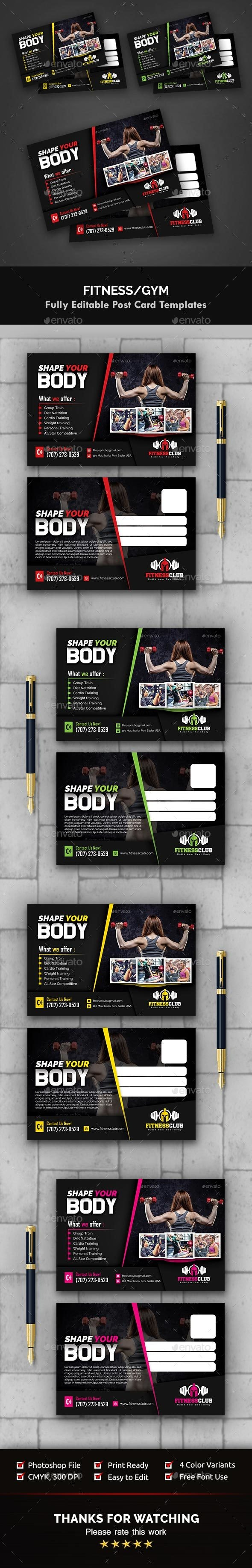 Fitness / Gym Postcard Templates - Cards & Invites Print Templates